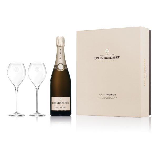 Louis Roederer Brut Premier Champagne Jamesse 2 Flute Gift Set